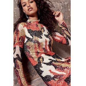 NWT Free People Life of Party XS Flame Sequin Mini